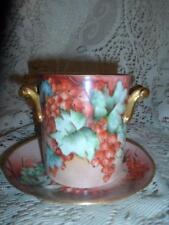 Antique Hand-Painted Porcelain GDA Limoges France Condensed Milk Jar /UnderPlate