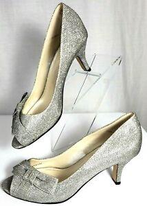 Caparros Silver Mesh Dressy Formal Peep Toe Heels Pumps Leather Sole Size 9 B