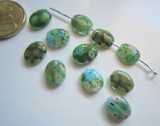 Perlas ovales cristal milflores 10 x 8 mm X 11 UNIDADES gama verde 2 abalorios