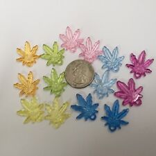 25 pcs Mixed Colors 18X24mm Acrylic Marijuana / Hemp Leaf Charms Pendants Beads