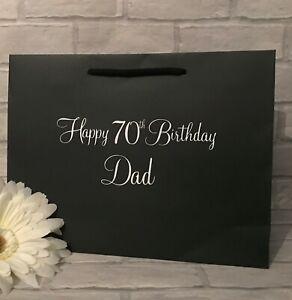 Personalised Birthday Gift Bag Black White Grey Kraft