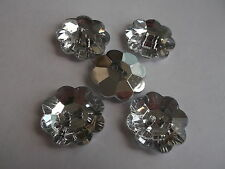 12 x Large 25mm Plastic Flower Shape Crystal Faux Sew Buttons - Buy 3 Get 1 FREE