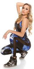 Fitness leggings & Top yoga mesh BLUE black graffiti stretch size L/XL 14/16 set