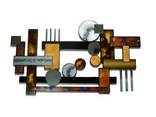 Mid Century Contemporary Abstract Wood Metal Wall Sculpture, Desert Reflections