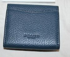 NWT Coach Earbud Storage Case Wallet - Denim Blue Pebble Leather - 25472
