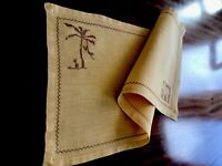 VINTAGE HAND EMBROIDERED LINEN Elephant TABLE CENTRE Runner CLOTH 23x11.5 Inches