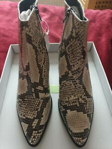 Dorothy Perkins Dark Brown & Cream Snake Print Leather Ankle Boots Size 7 BNIB