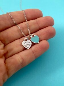 "Tiffany & Co Mini Double Blue Enamel Heart Tag Pendant Necklace 18"" RRP $300"