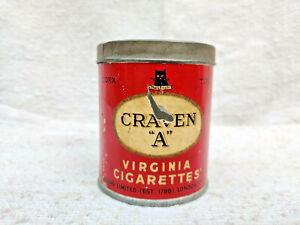 1940s Vintage Advertising Craven A Virginia Cigarette Tin Box Round London