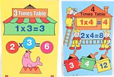 Maths 3 & 4 Times Tables Wall Chart Circus & Jobs Posters Count Multiply Numbers