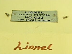 LIONEL CLASSIC REMOTE CONTROL #O22 PLATED BRASS NAME PLATE w/FASTENERS