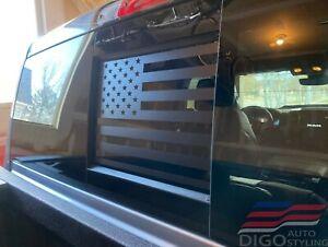 2009 - 2021 Dodge RAM Back Middle Window American Flag Decal Sticker Matt Black