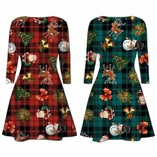 New Womens Christmas Tartan Reindeer Santa Gift Bells Print Swing Dress 8-30
