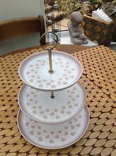 Cake stand DENBY Falling Leaves Retro Vintage  3 TIER PLATE CUP pink white