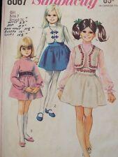 Sassy VTG 87 SIMPLICITY 8067 Girls Skirt Blouse & Bolero PATTERN 7/26B UC