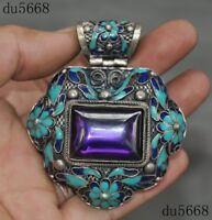"3"" Tibetan Buddhism Tibet silver Cloisonne Inlay Zircon amulet necklace Pendant"