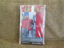 NEW! Colortrends Peva Flannelback Tablecloth, Red Palms - 52x70 FREESHIP!
