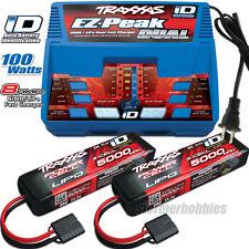 Traxxas EZ-PEAK DUAL Charger & (2) iD 3S 5000mAh Lipo Batteries E-REVO BRUSHLESS