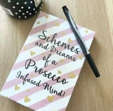 Pink White Memo Note Pad Book & Pen Schemes & Dreams of Prosecco A Infused Mind