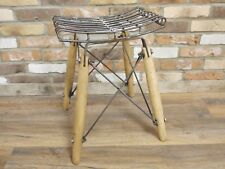 53cm Tall Industrial Style Wooden & Metal Slatted Stool Retro Quirky Grey Seat