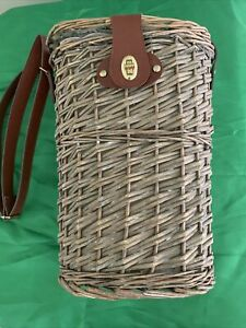 Wicker 2 Bottle Wine Carrier with Shoulder Strap - Preowned