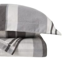 Wulfing Dormisette Germany 100% Cotton Flannel Duvet + sham set Plaid Grey Queen