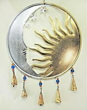 Moon face with Sun & bells metal wall art porch or patio decor