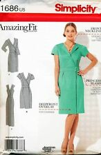 SIMPLICITY SEWING PATTERN 1686 MISSES 6-14 AMAZING FIT WRAP DRESS, PRINCESS SEAM