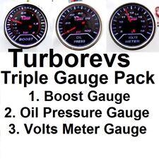 3 Ahumado medidores Turbo Boost de presión de aceite voltios medidor Triple 52mm Pack