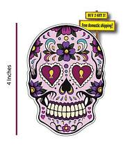 Day of the Dead Mexican Sugar Skull Purple Hearts Decal Sticker Dod35