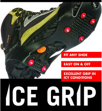SNOW SHOE BOOTS ICE SPIKES GRIPS CLEATS CRAMPONS NO SLIP ANTI MEDIUM UK 6 7 8 9