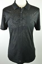 Stunning Mens Versace Collection Black Tipped Floral Overprint Polo Shirt Medium