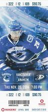 2014 VANCOUVER CANUCKS VS ANAHEIM DUCKS UNUSED TICKET STUB 11/20 CHRIS HIGGINS