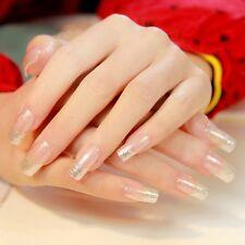 Shimmer Silver Glitter French Nails Clear Spirit Flat Press-On Nails Medium Z298