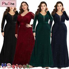 Plus Size Long Elegant Sparkle Mermaid V-neck Velvet Long Sleeve Evening Dresses
