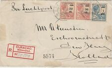 Curacao 1929 first airmail stamp cover registered > Holland via New York defects