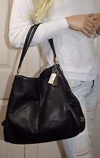 COACH Madison Phoebe 34291 Pebble Leather Shoulder Bag Tote Black