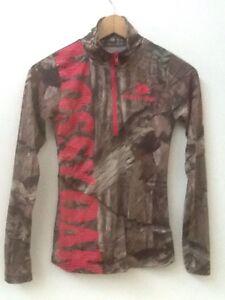 Women's Mossy Oak Camouflage Breakup Infinity Pink 1/2 Zip Pullover Sz S Small