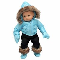 "15 "" Inch Baby Doll Clothes Fit American Girl Bitty Twin Snow Suit & Shoes BLUE"