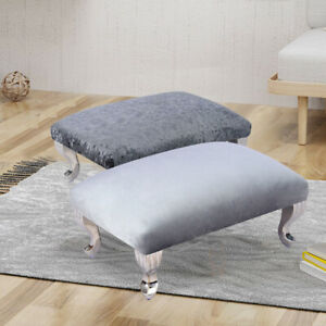 Crushed Velvet Footstool Ottoman Pouffe Stool Small Bench Chair Queen Anne Legs