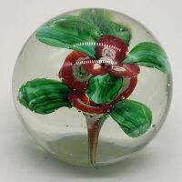 Vintage hand blown studio art glass paperweight w/ millefiori flowers