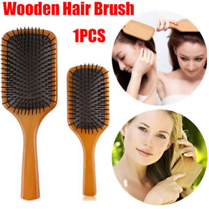 Natural Wooden Bristle Hair Comb Oval Anti-static Paddle Massage Scalp Brush a