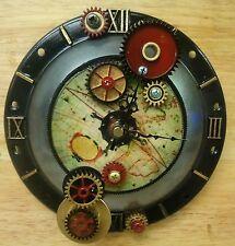 Steampunk Wall Clock-Antique World Map- Industrial Gears- Handmade