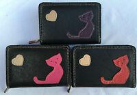 Ladies Girls Fabretti Real Leather Purse Black  Cat Design Wallet