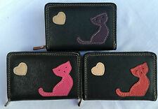 Ladies Girls Fabretti Real Leather Purse Black  Cat Design Wallet