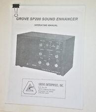 GROVE SP200 SOUND ENHANCER SPEAKER OPERATING MANUAL (COPY) Free Shipping