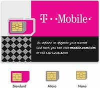 New T-Mobile  GSM 4G LTE Factory 3 in 1 Triple Cut Sim Card