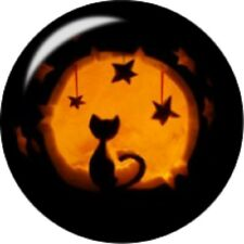 Snap button Black Cat Halloween Moon Stars 18mm charm chunk interchangeable