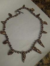 """Unusual Brown Blister Freshwater Pearl Glass and Gold Bead Necklace 16 1/2"""""""