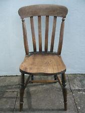 Antique Victorian Beech & Elm Farmhouse Cottage Kitchen Dining Chair Rustic